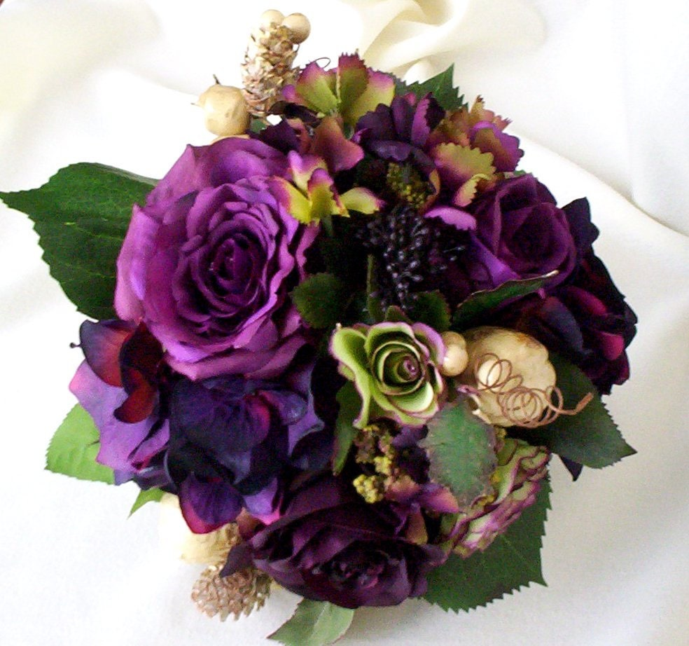 Silk Wedding Bouquets Orchids : Plum bridal bouquet silk wedding flowers radiant orchid purple