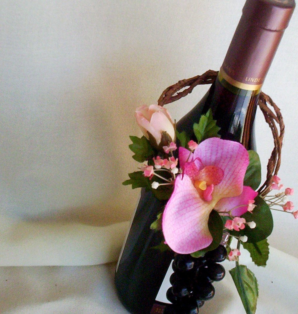 Hot pink wine bottle topper centerpiece reception decoration