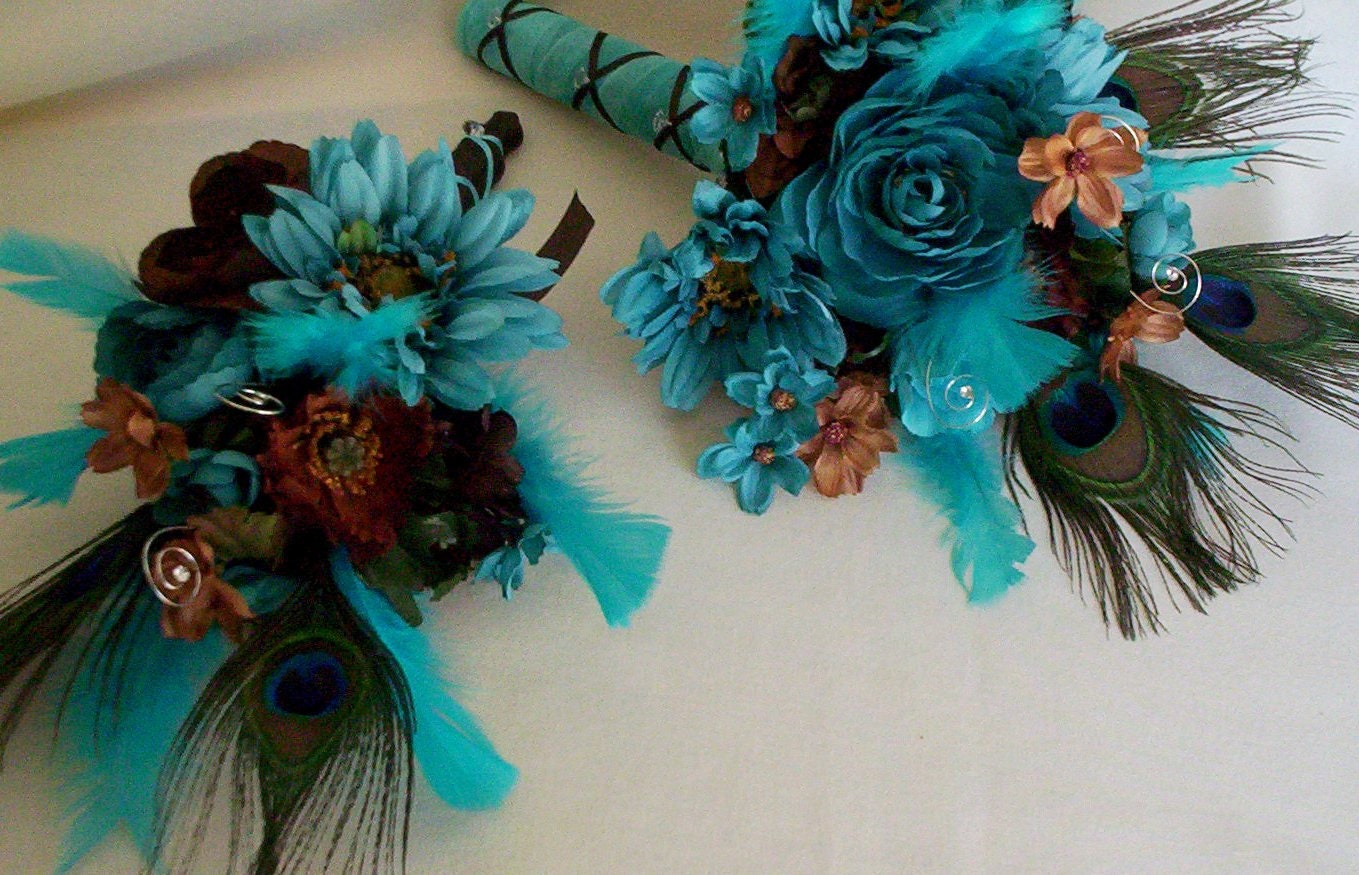 Brown And Teal Wedding Ideas: Peacock Turquoise Wedding Flower Package Brown Custom For