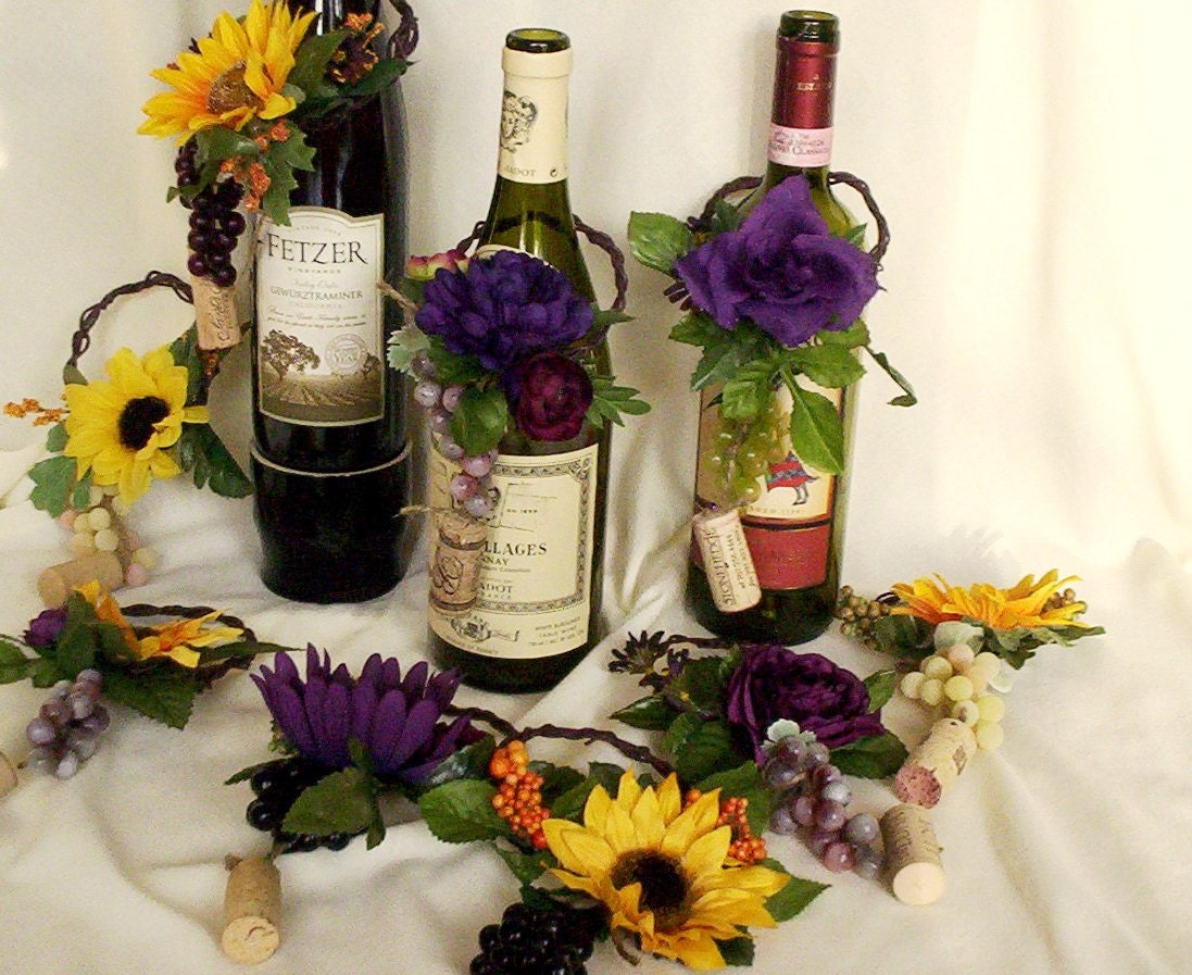 Sunflower wedding centerpieces wine bottle toppers decoration for Wine themed centerpieces