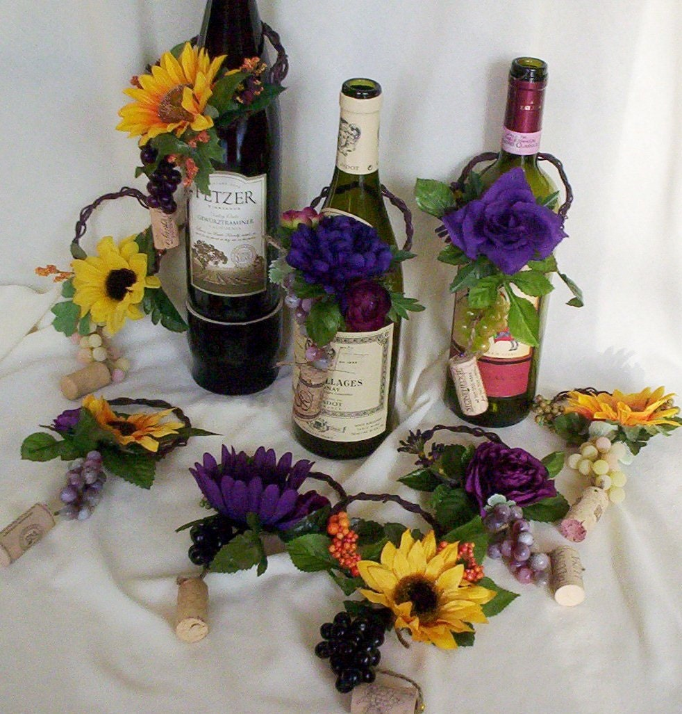 Wedding centerpieces wine bottle toppers purple by amorebride for Wine bottle wedding centerpieces