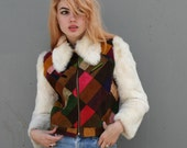 HIPPIE HEAVEN 70s Patchwork Leather and Bunny Jacket, xs-s