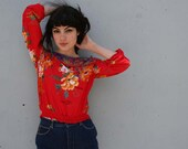 ASIAN FLORAL 70s Boho Top, xs-s