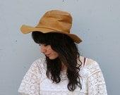 1970s HAT / Golden Brown LEATHER Bohemian Wide Brim Hat