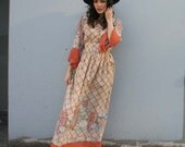 1970s MAXI DRESS / Harvest Floral in Rust & Cream, xs-m...RESERVED