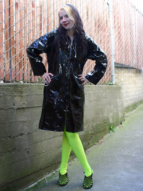 60s Mod Black Shiny Black Vinyl Hooded Raincoat