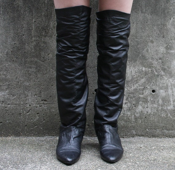 the knee black leather pirate boots by