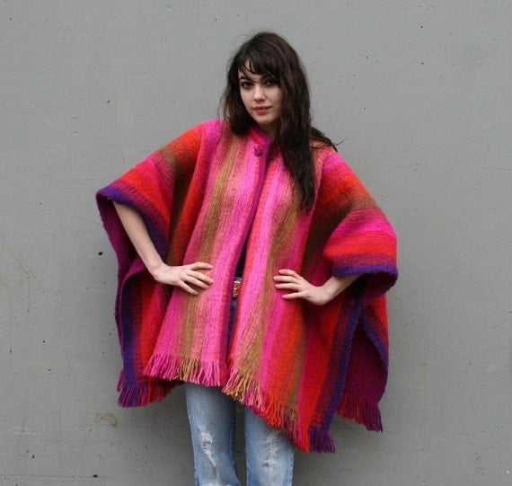 FIERY STRIPE Cozy 70s Poncho Coat