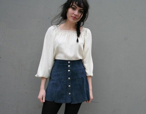BOHO BABE 60s Navy Blue Suede Mini Skirt xs-s