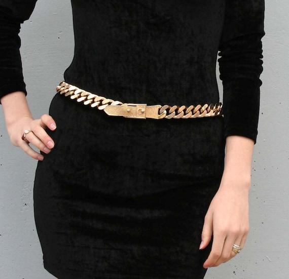 heavy metal chunky gold chain belt