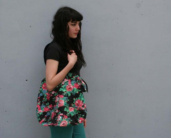 BRIGHT BLOOMS Oversized 80s Black Floral Overnight Tote...SALE
