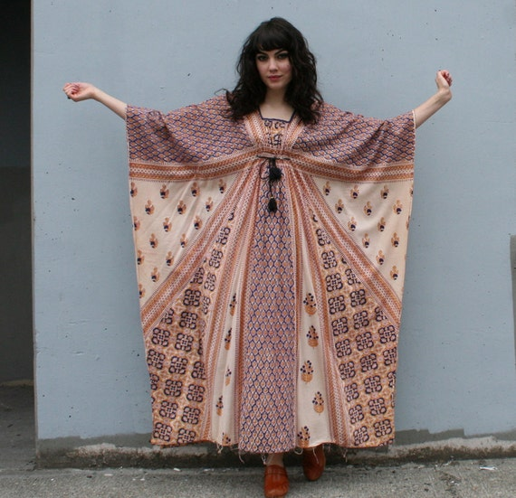ETHNIC ADVENTURE 60s-70s Caftan Maxi Dress