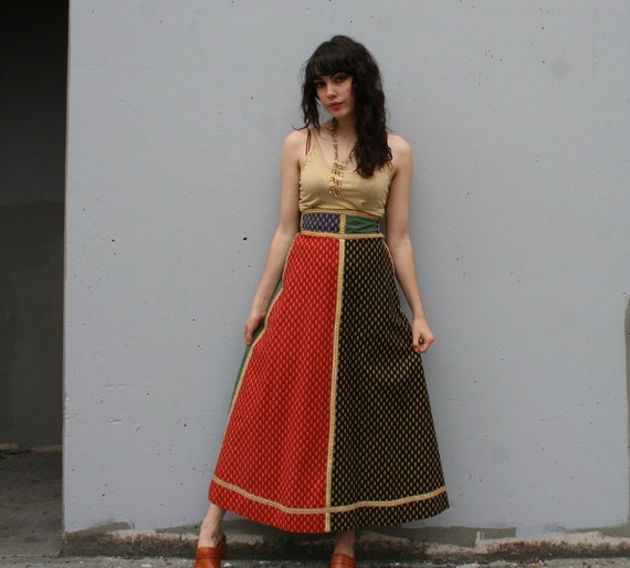 1970s MAXI SKIRT / Ethnic Boho Colorblock by Anne Klein, xs-s
