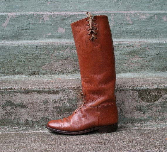 60s RIDING BOOTS / Caramel Leather Lace Up Equestrian Flats, 8.5-9