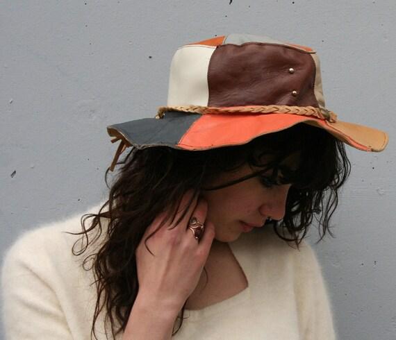 1970s Hippie HAT / Patchwork LEATHER Bohemian Wide Brim Hat