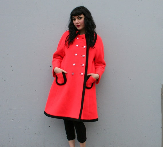 1960s Mod WINTER COAT / Bright Orange A-Line Wool, s-m