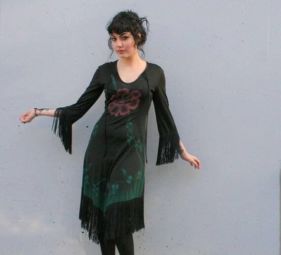 70s FRINGE DRESS / Painted Floral Stevie Nicks Dress, xs-s