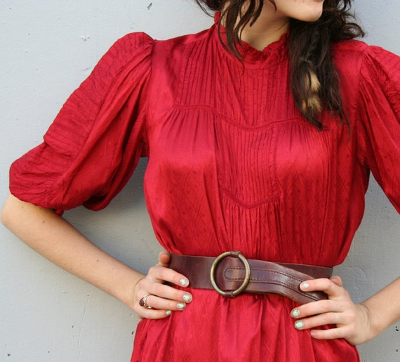 1960s LEATHER BELT / Deep red Wine Stained Leather with Big Brass O Buckle...SALE