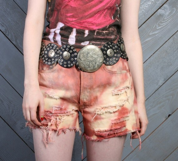 70s Levis CUT-OFFS / High Waist Terra Cotta Clay Bleached & Distressed Shorts, s