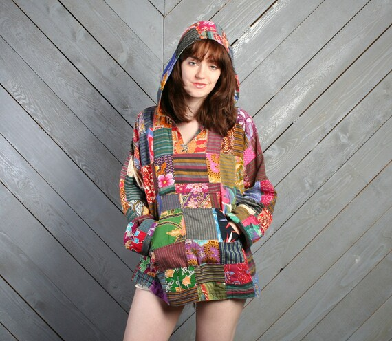 1990s ETHNIC HOODIE / Bright Patchwork Cotton Oversized Pullover