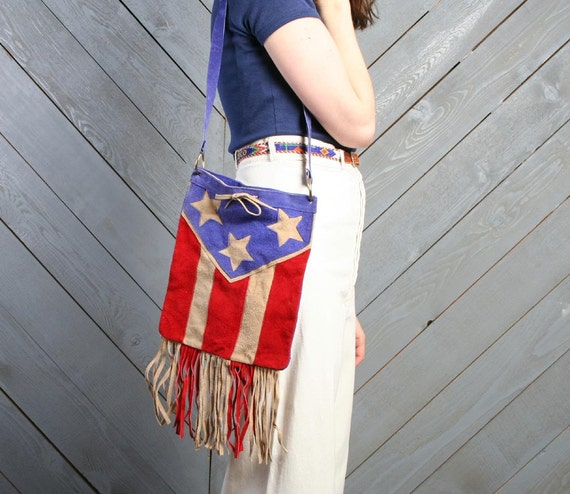 70s AMERICAN FLAG Purse / Soft Fringed Suede Leather