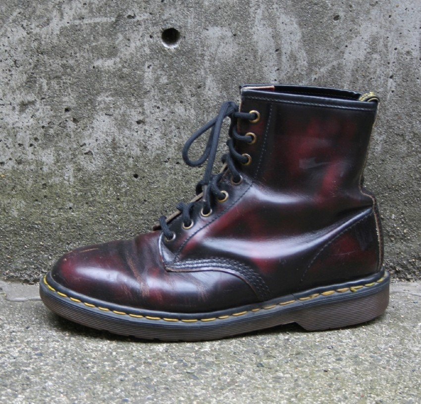 black cherry doc martens combat boots 9