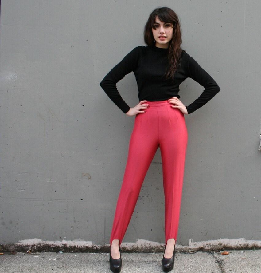 Dusty Blush Pink 80s Glam Stirrup Pants Xs S
