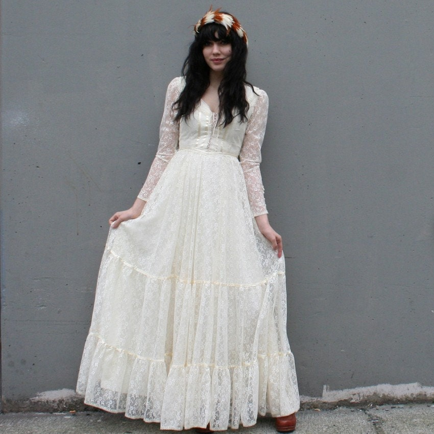 Romantic Gunne Sax Ivory Lace Wedding Dress Xs Reserved
