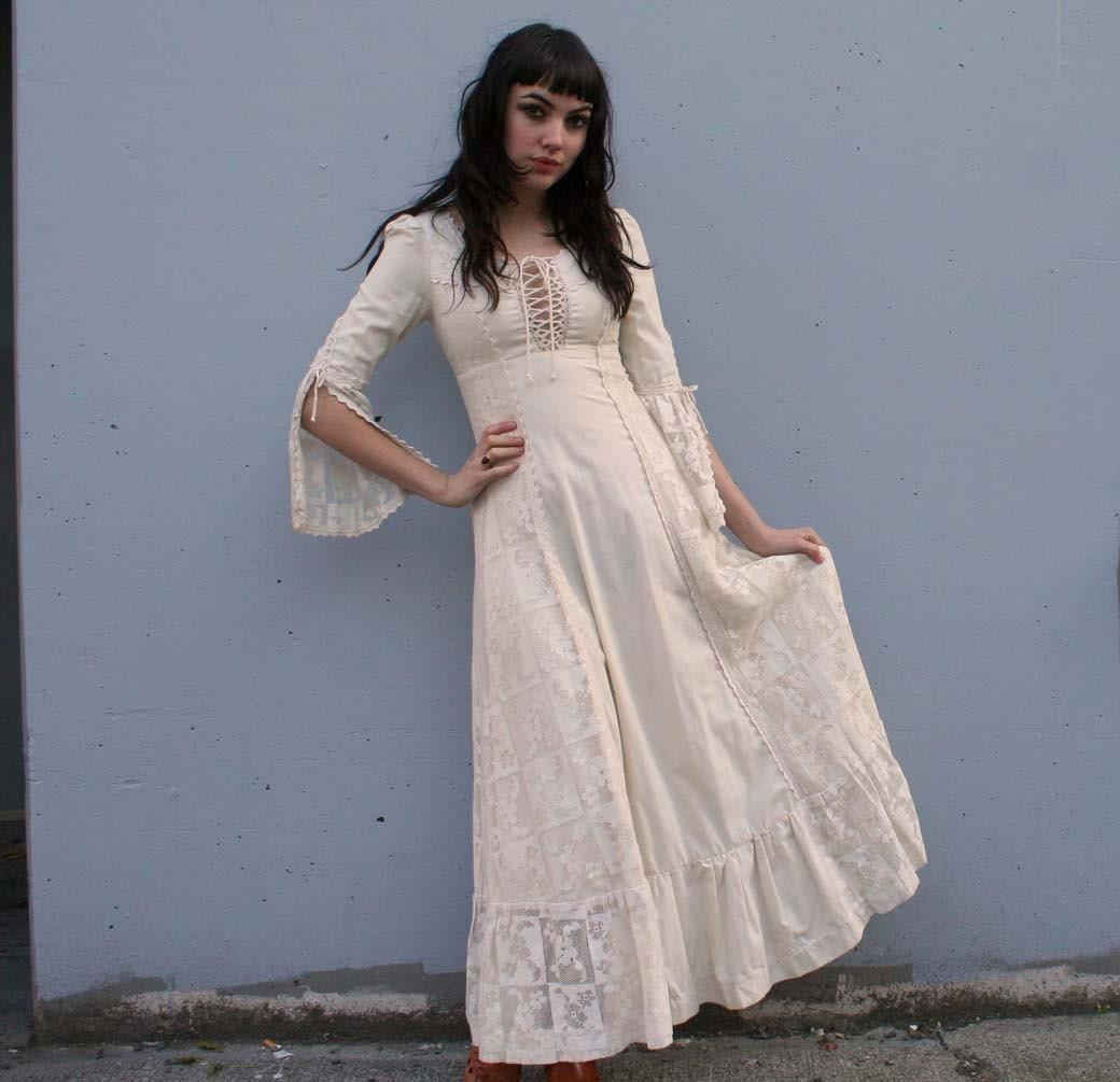1960s gunne sax cream linen crochet by luckyvintageseattle for Gunne sax wedding dresses