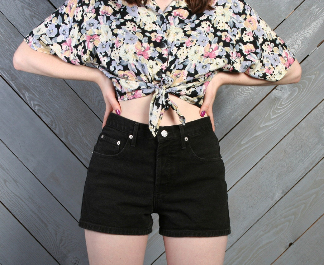 Black Jean High Waisted Shorts