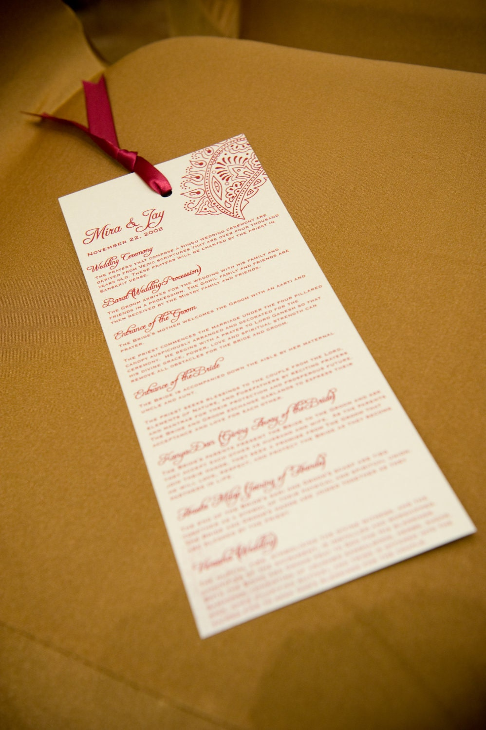 Custom Wedding Program and/or Indian Wedding Invitation Suite