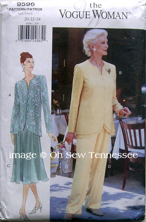 Elegant Two Piece Outifts - Vogue 9596 - Size 20, 22 and 24 Sewing Pattern