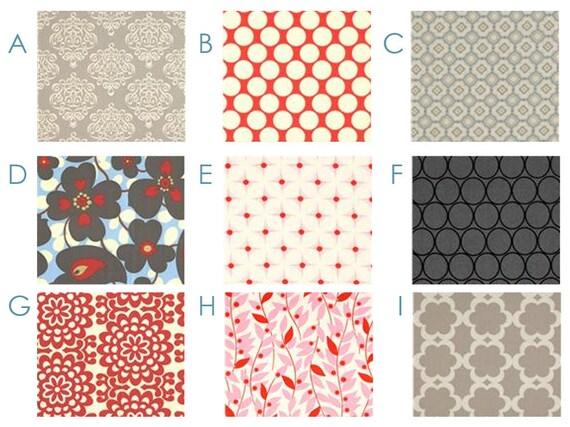 Changing Pad Cover - Lotus Red and Gray - Custom Crib Bedding Set