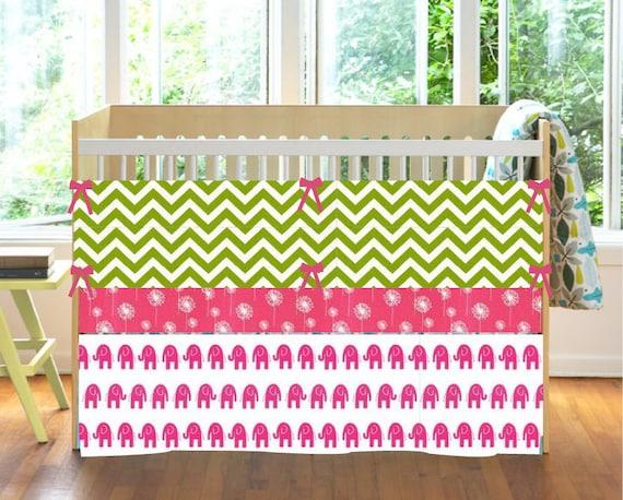 Hot Pink And Lime Green Custom Crib Bedding