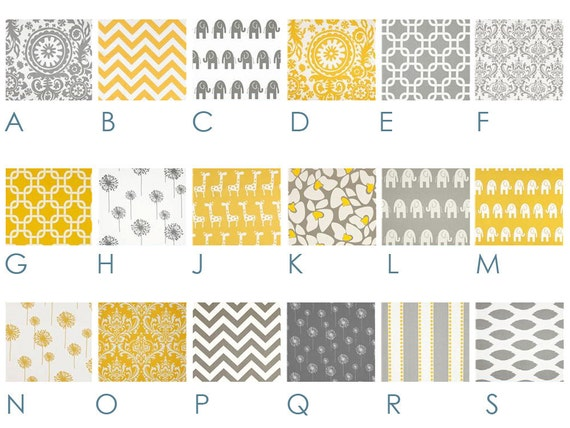 Baby Bedding - Modern YELLOW and GRAY Custom Crib Bedding - Grey