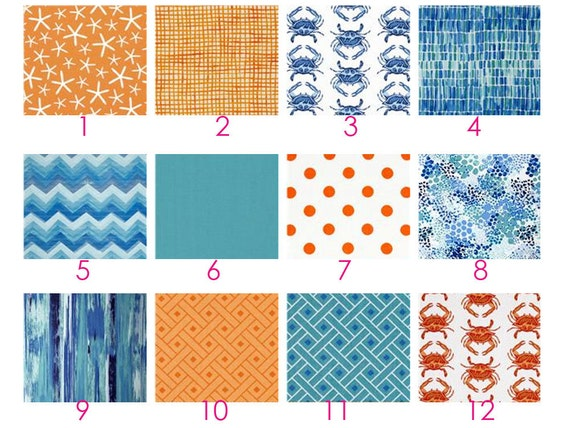 Custom Crib Bedding - Going Coastal - Orange, Aqua, Teal