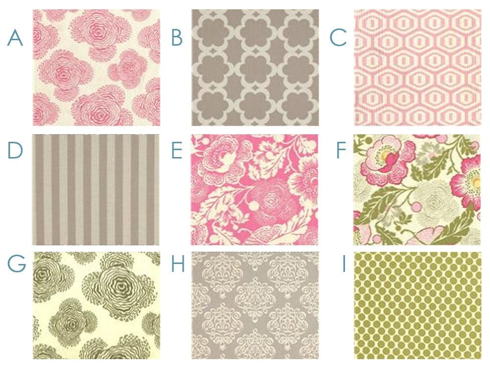 Rose Garden Pink And Gray Custom Crib Bedding Set By Happymae