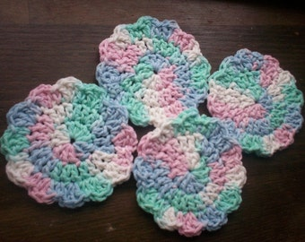 Set of 4 Crocheted Flower Face Scrubbies - Pastel Multicolor