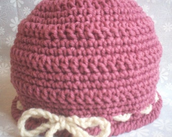 Crocheted Beanie Hat Cloche with Bow - Mauve Pink