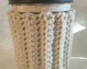 Ribbed Crochet Coffee Cup Cozy Sleeve - Off-White