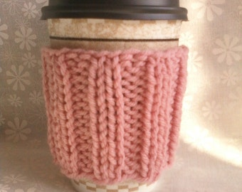 Hand Knit Coffee Cup Cozy Sleeve - Rose Pink
