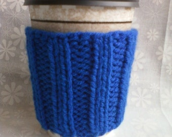 Hand Knit Coffee Cup Cozy Sleeve - Royal Blue