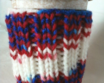 Hand Knit Coffee Cup Cozy Sleeve - Red White and Blue