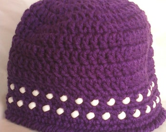 Girl's Beaded Crocheted Beanie Hat - Dark Orchid Purple