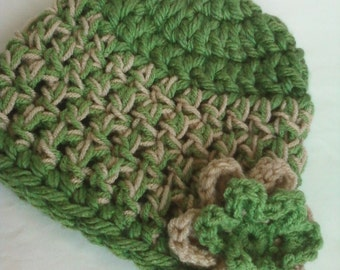 Crocheted Beanie Cap with 2-Tiered 6-Petal Flower - Tea Leaf Green Beige
