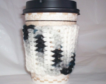 Crocheted Coffee Cup Cozy Sleeve - Black Gray White