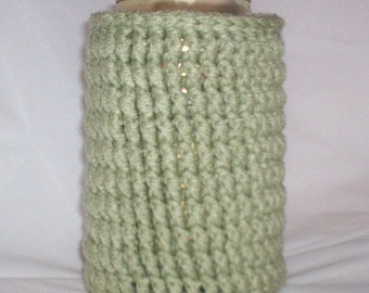 Crocheted 12 oz Can Cozy Beer Holder - Sage Green