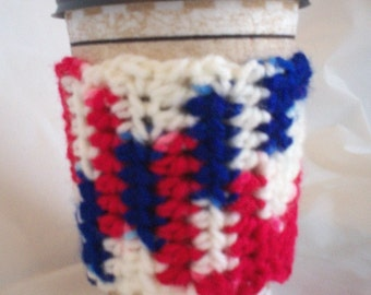 Crocheted Coffee Cup Cozy Sleeve - Red White Blue