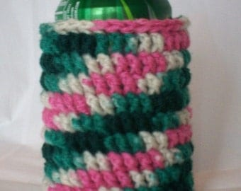 Crocheted 12 oz Can Cozy Beer Holder - Pink/Green/Cream