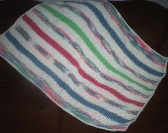 Knit Seed Stitch Striped Baby Blanket With Crocheted Edging